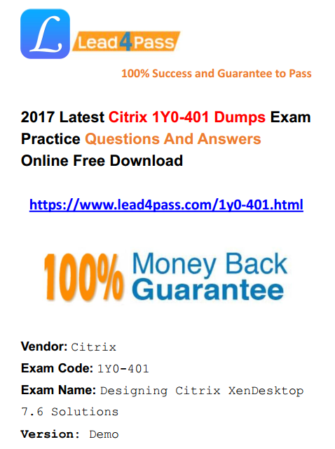 High Quality Citrix CCE-V 1Y0-401 Dumps Exam Files And Youtube Demo